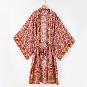 Meadow Roads Cotton Bohemian Gypsy Kimono Duster